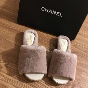 NWT Chanel Rabbit Fur Mules